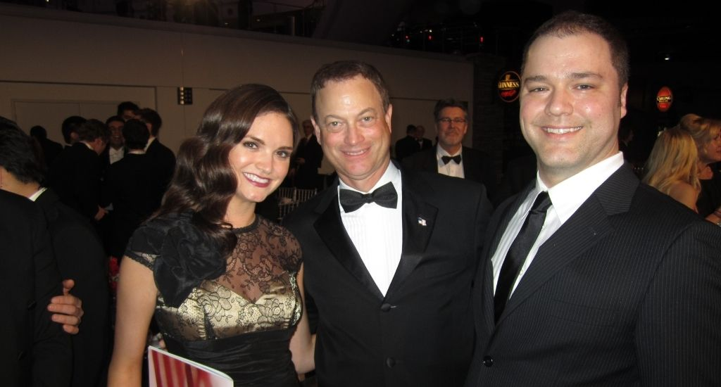Laura Orrico and Ryan Cosgrove (right) with their friend Gary Sinise at the 2012 Freedom Gala at The Reagan Library. Photo courtesy of Laura Orrico Public Relations