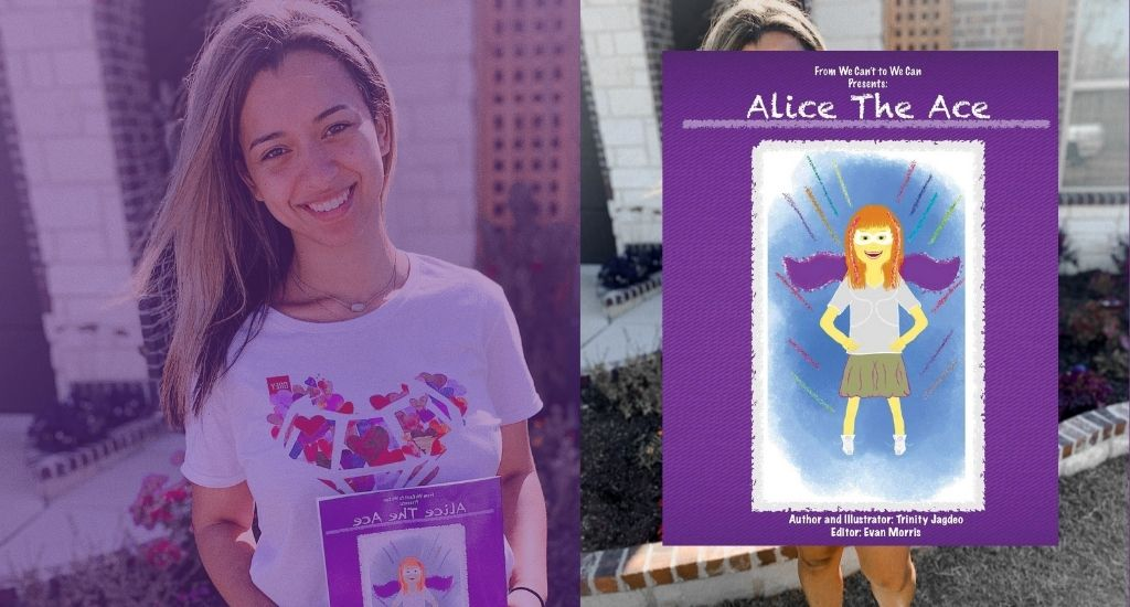 From We Can't To We Can CEO/Founder Trinity Jagdeo holding Alice the Ace superhero book for children with disabilities