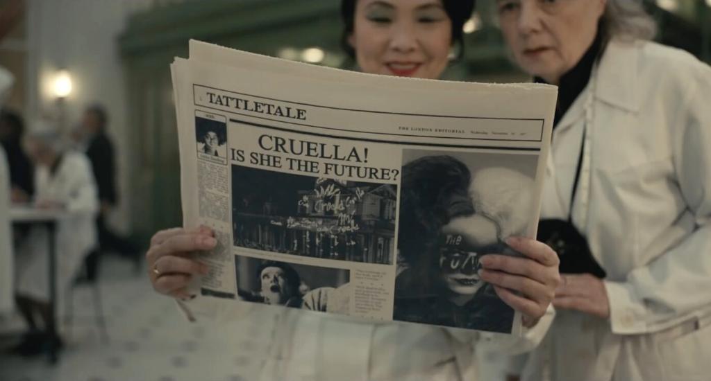 Newspaper that reads Cruella! Is She The Future?
