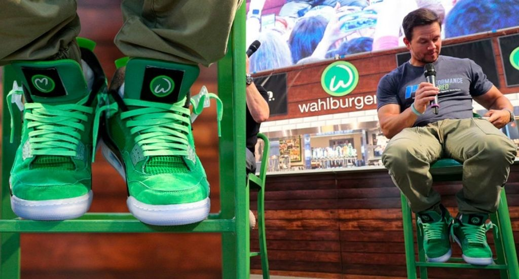 Actor Mark Wahlberg wearing his Air Jordan IV Wahlburgers sneakers