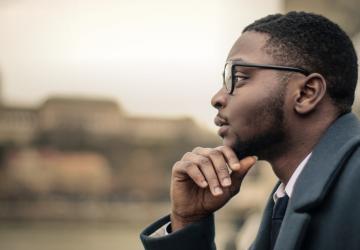 Man contemplating quitting