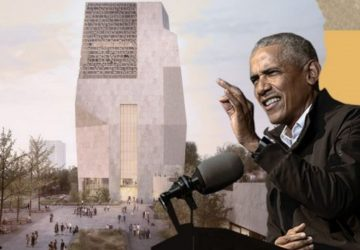 Obama presenting Presidential Center project.