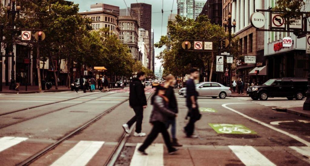 Pedestrians crossing street in San Francisco