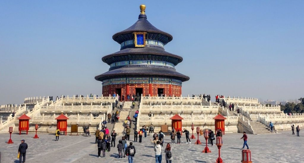 Entrepreneurs and tourists visiting Temple of Heaven in Beijing, China